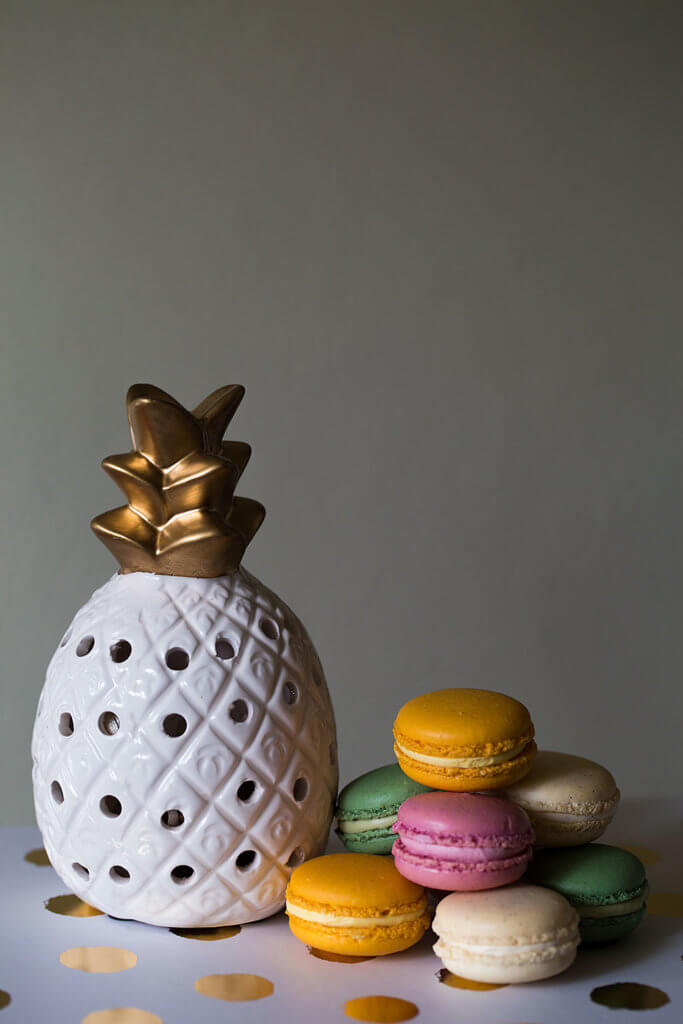 drive-swim-fly-california-pineapple-collection-fine-art-macarons-gold-dots