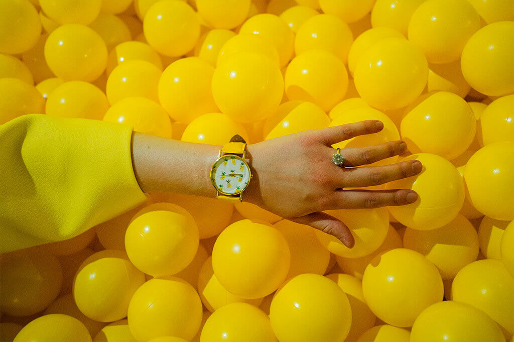 drive-swim-fly-color-factory-san-francisco-union-square-yellow-room-pineapple-watch