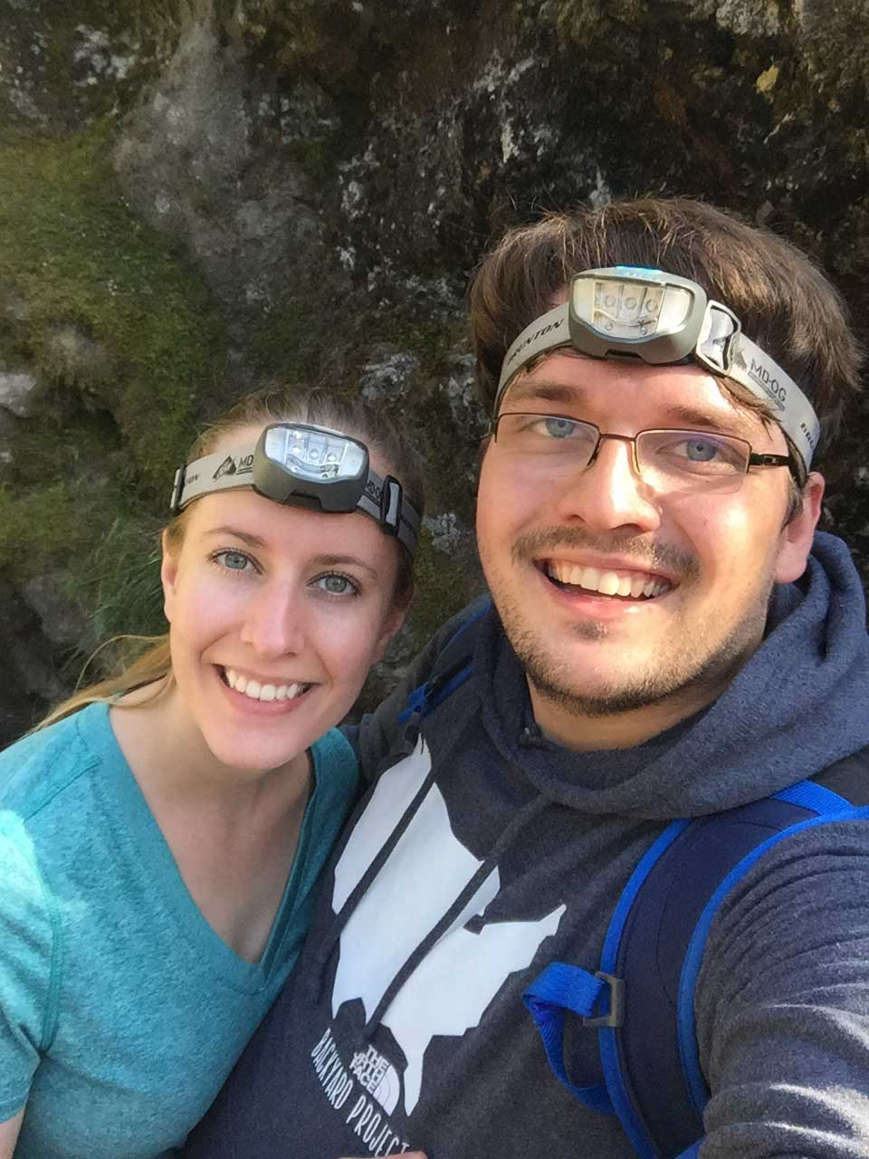 drive-swim-fly-seattle-washington-portland-oregon-vacation-2015-selfietrip-ape-caves-mount-saint-helens-head-lamps-cave-opening