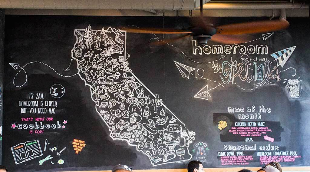 drive-swim-fly-hayward-california-homeroom-macaroni-and-cheese-california-outline-chalk-board