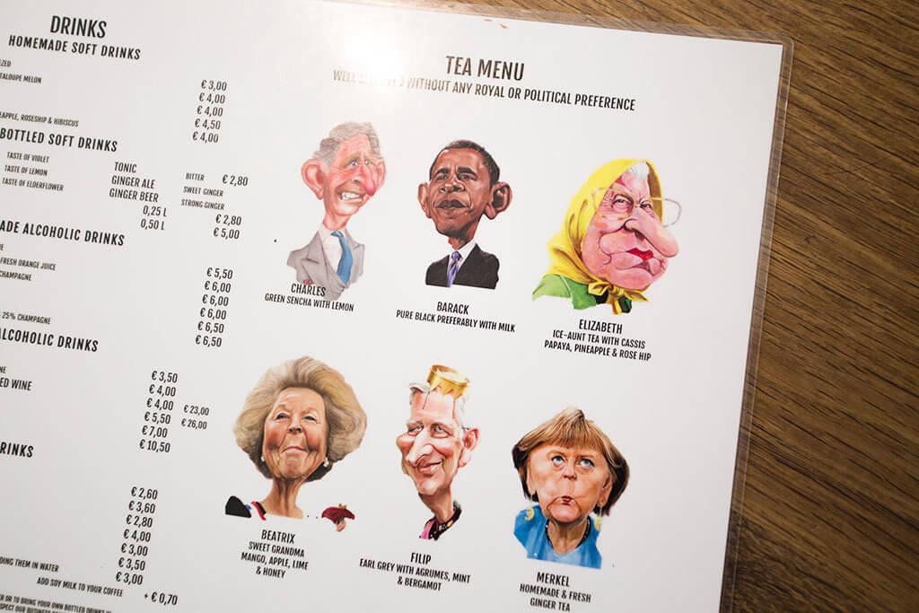 drive-swim-fly-the-netherlands-brugge-bruges-bagel-restaurant-sanseveria-bagelsalon-menu-cartoon-barak-obama