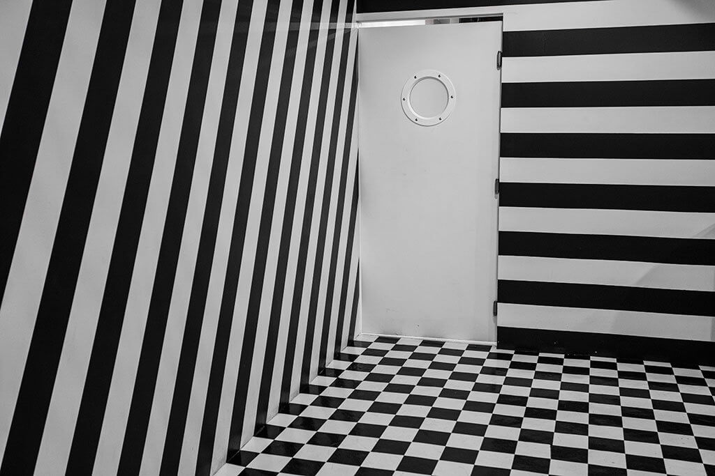 drive-swim-fly-color-factory-san-francisco-union-square-black-white-room-stripes