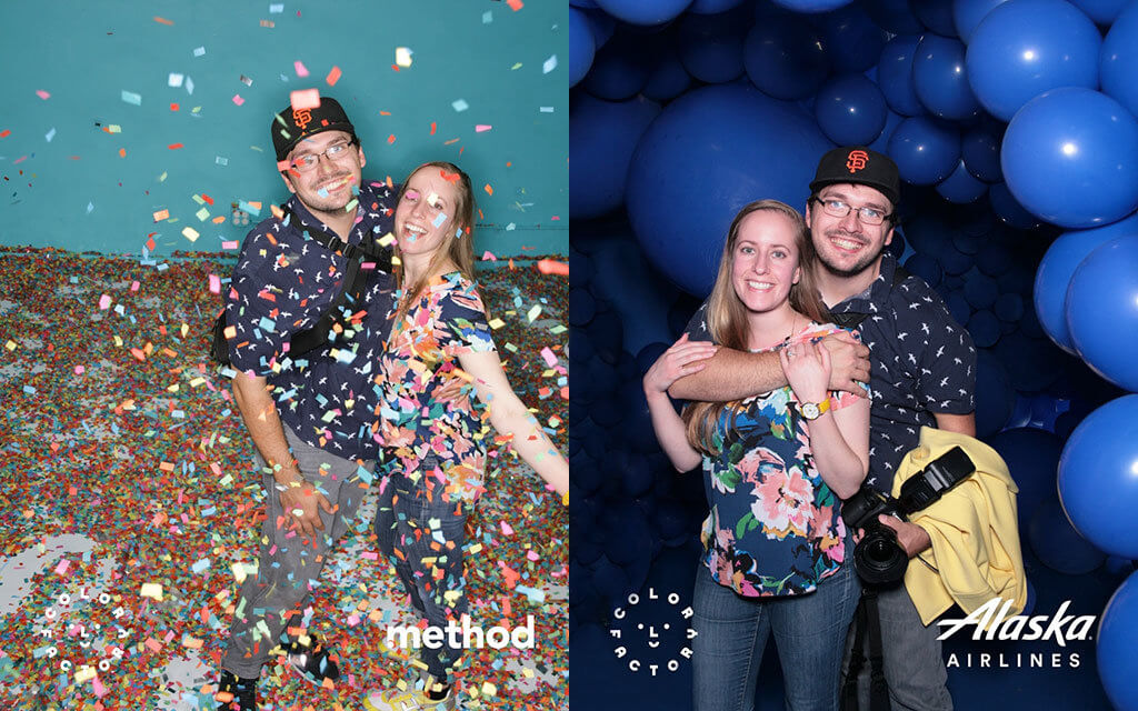 drive-swim-fly-color-factory-san-francisco-union-square-blue-balloon-room-brandon-jess-hugging-confetti-room