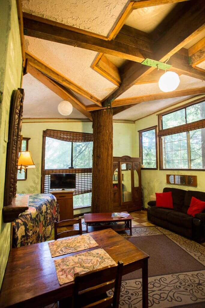 drive-swim-fly-santa-cruz-mountains-treehouse-hotel-kitchen-table-living-room