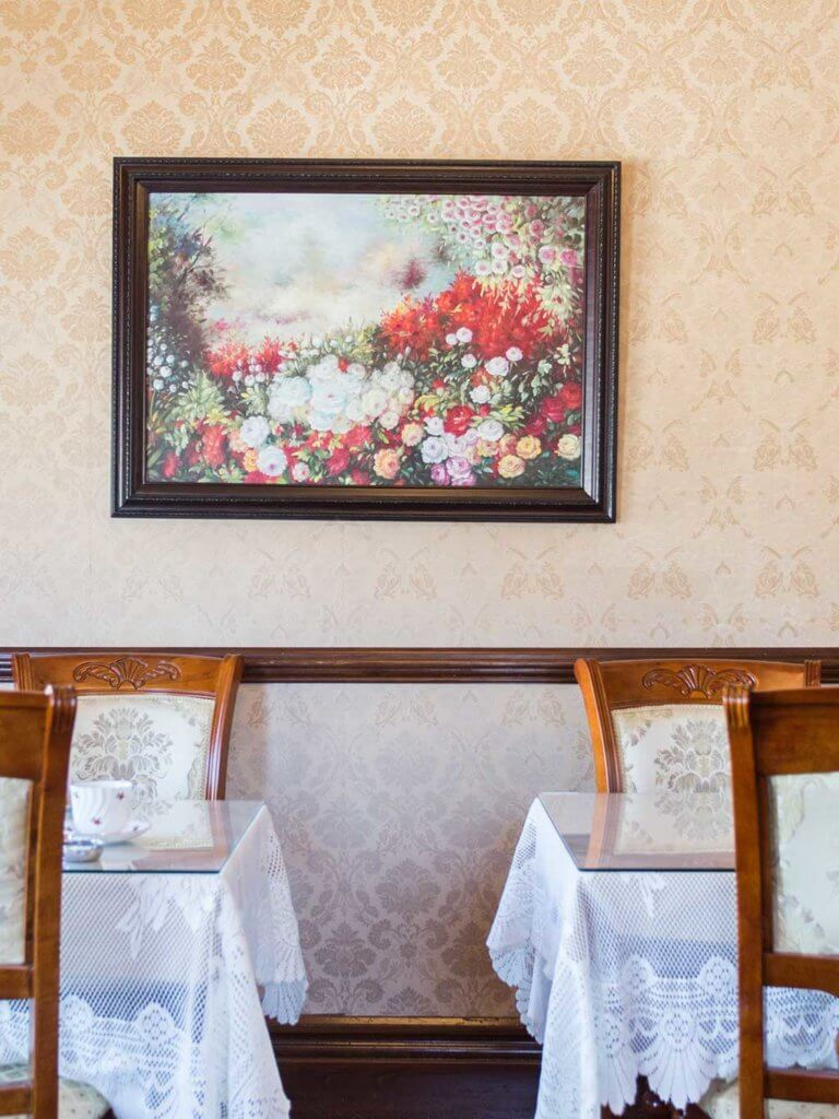 drive-swim-fly-white-hart-tea-room-pacific-grove-california-flower-painting