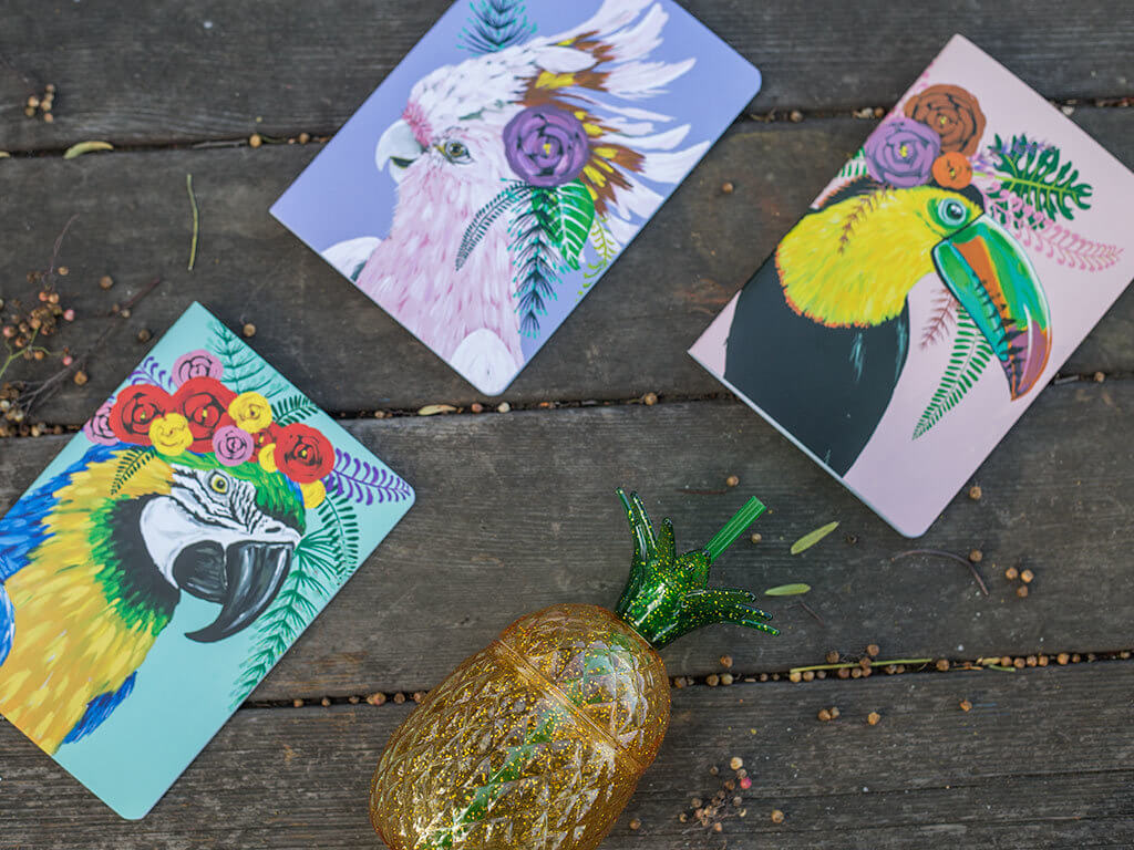 drive-swim-fly-california-pineapple-collection-colorful-bird-journals-marshalls-glitter-pinapple