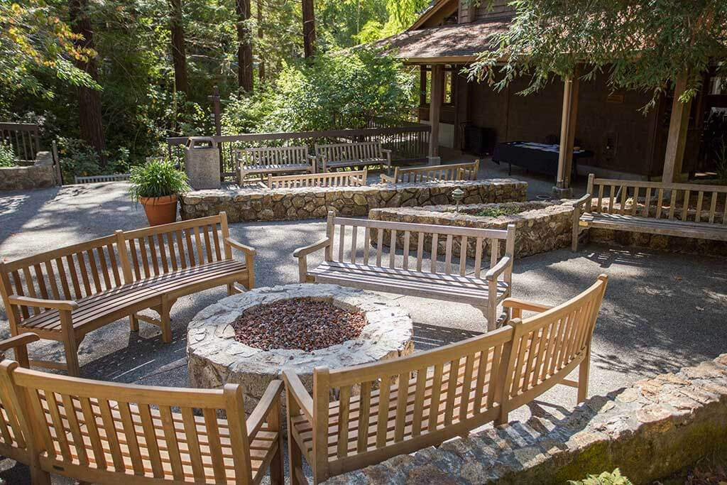 drive-swim-fly-california-mount-hermon-christian-retreat-camp-fire-circle-benches-meeting-space