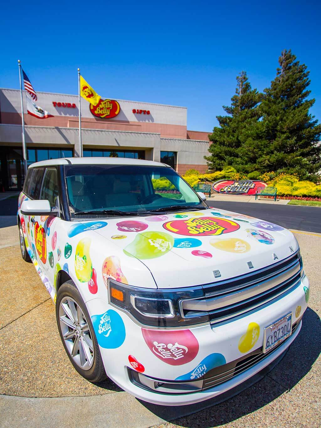 drive-swim-fly-jelly-belly-factory-tour-fairfield-california-company-car-outside-factory