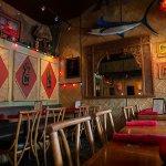 drive-swim-fly-hulas-island-grill-restaurant-monterey-california-tiki-head-sword-fish-dining-room