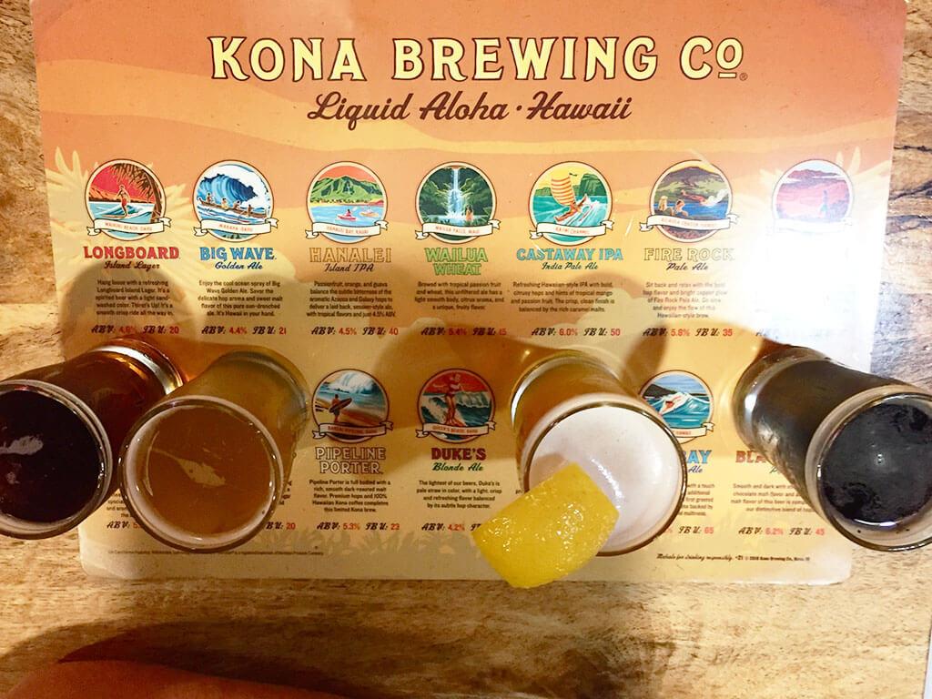 drive-swim-fly-hawaii-big-island-kona-coast-kona-brewing-company-brewery-tasting-flight